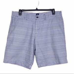 Gap Factory Blue Slim Oxford Stripe Bermuda Shorts